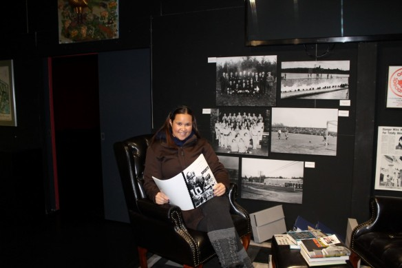 """Learning about sports in Timmins in the """"press room"""" museum exhibition."""